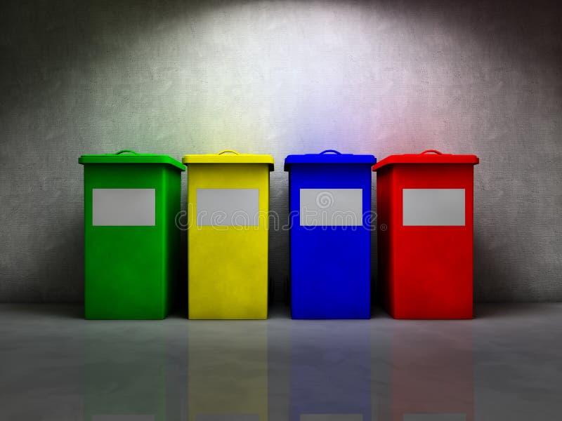Recycleer containers royalty-vrije illustratie