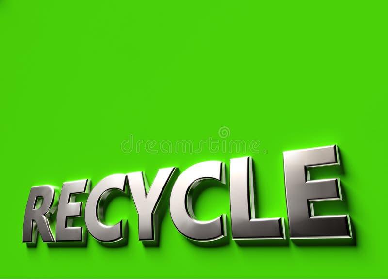 Recycleer 3D teken of embleemconcept op groene oppervlakte met exemplaarruimte die wordt geplaatst boven het Nieuwe rekupereerbar royalty-vrije illustratie