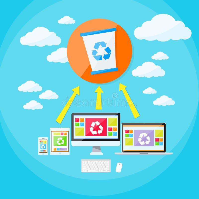 Recycleer de Emmerlaptop van het Bakafval Telefoon en Tablet stock illustratie