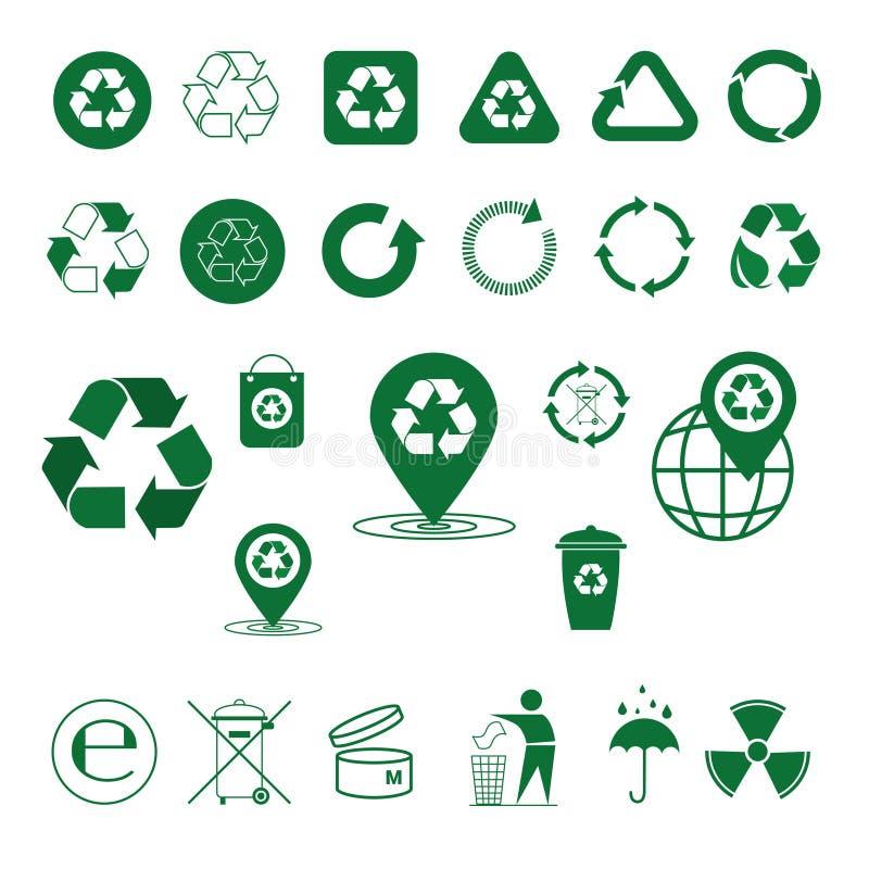 Recycleer de Groene Pijlen Logo Set Web Icon Collection van het Afvalsymbool royalty-vrije illustratie