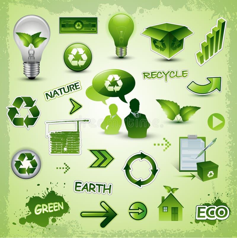 Recycleer de inzameling van milieupictogrammen royalty-vrije illustratie