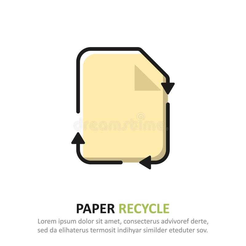 Recycleer document pictogram in een vlak ontwerp Vector illustratie stock illustratie