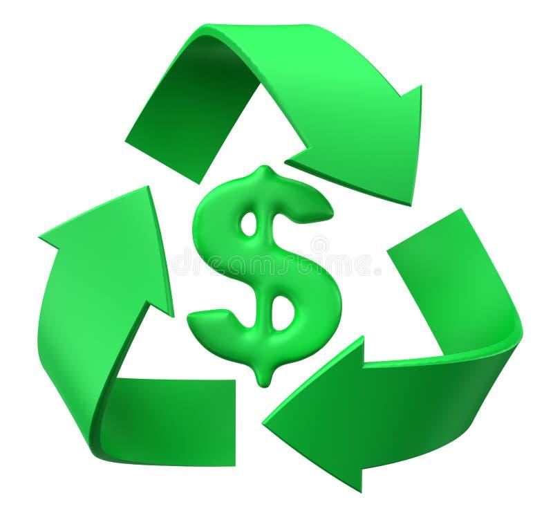 Recycleer dollar stock illustratie