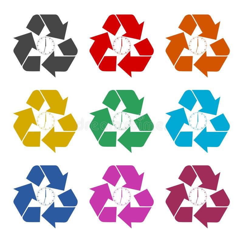 Recycleer ecosymbool, Kringloopteken, geplaatste kleurenpictogrammen stock illustratie
