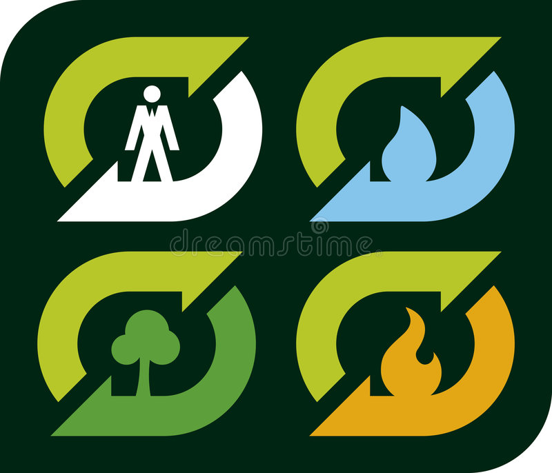 Recycleer elementen (vector) stock illustratie
