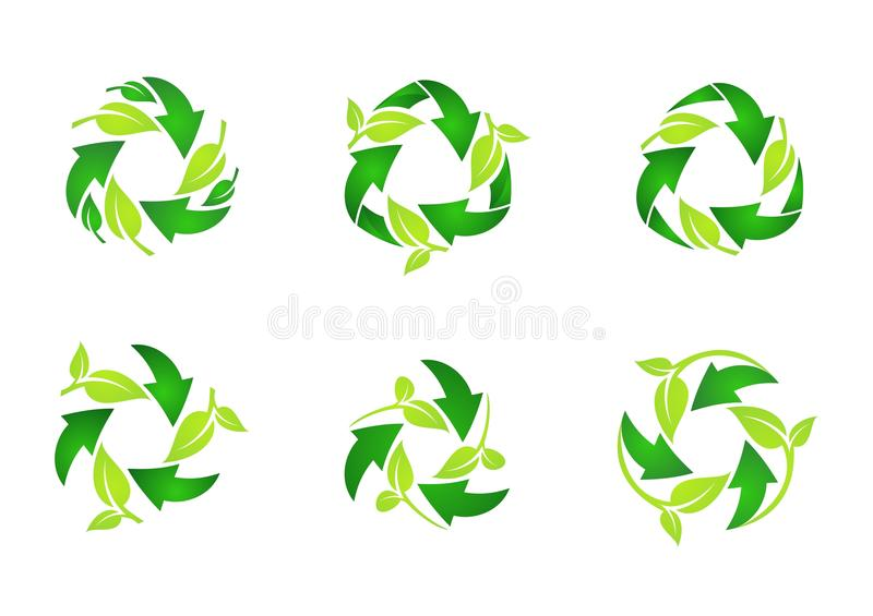 Recycleer embleem, cirkel natuurlijke groene bladeren die reeks van het ronde vectorontwerp van het symboolpictogram recycleren royalty-vrije illustratie