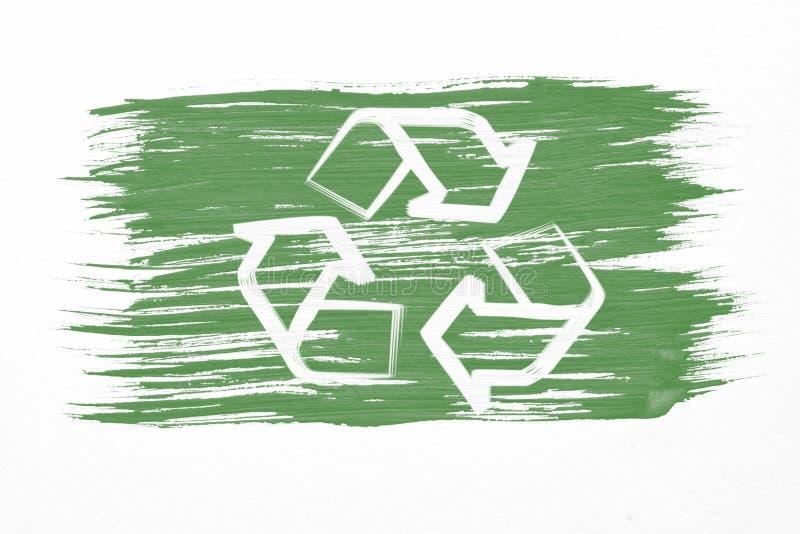 Recycleer embleem symbool of recyclingspijlen op groene vlag royalty-vrije illustratie