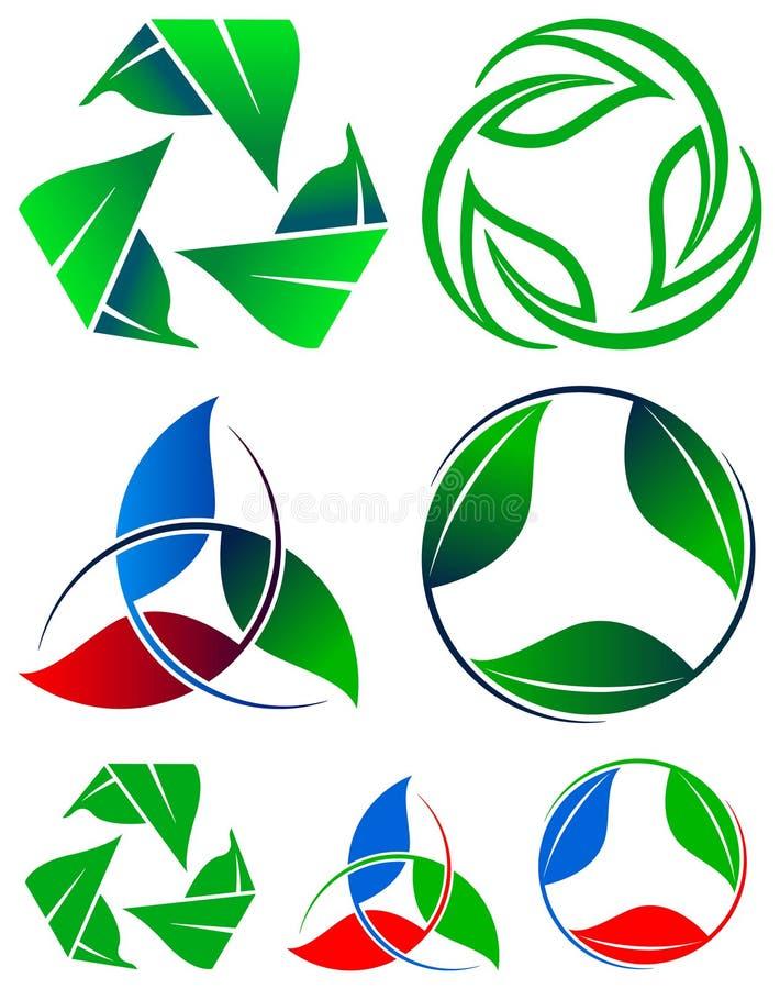 Recycleer embleemreeks vector illustratie