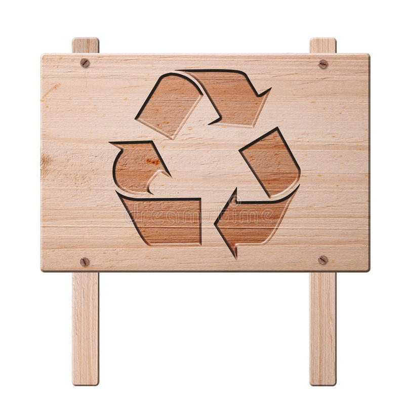 Recycleer geïsoleerdk teken, het knippen weg. royalty-vrije stock afbeeldingen