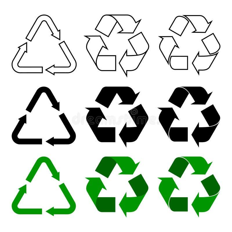 Recycleer, gebruik, verminder het symbool van het pijlenteken opnieuw stock illustratie