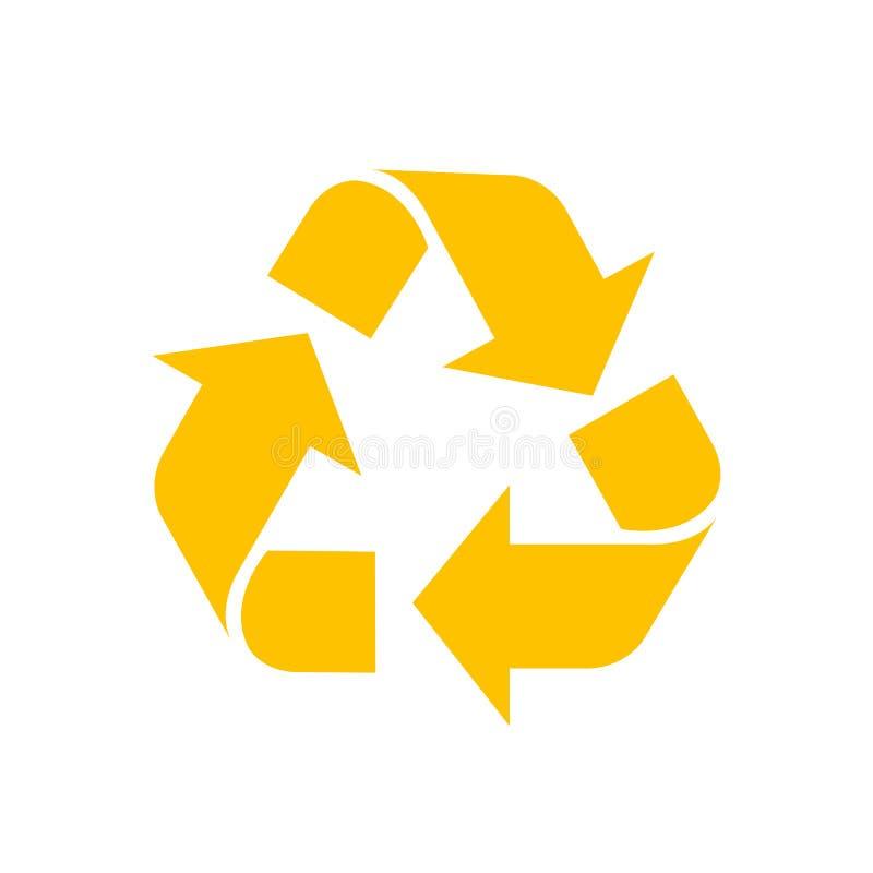 Recycleer geel symbool geïsoleerd op witte achtergrond, het gele teken van het ecologiepictogram, gele pijlvorm voor het kringloo royalty-vrije illustratie