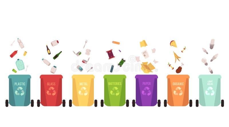 Recycleer geplaatste bakken en dalende huisvuiltypes, scheiding van afval op verschillende gekleurde containers voor recycling stock illustratie