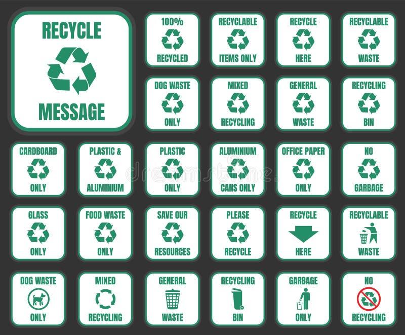 Recycleer geplaatste pictogrammen stock illustratie