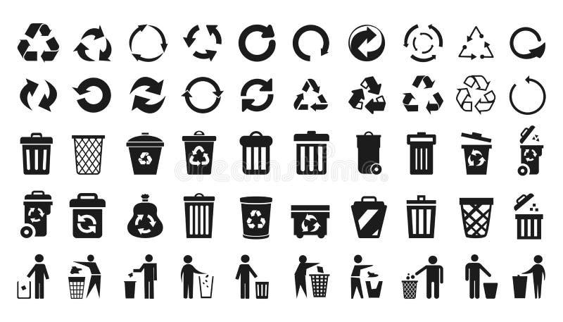Recycleer geplaatste pictogrammen en vuilnisbakpictogrammen met de mens - vector stock illustratie
