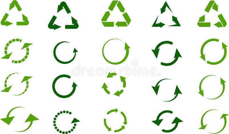 Recycleer geplaatste tekens royalty-vrije illustratie