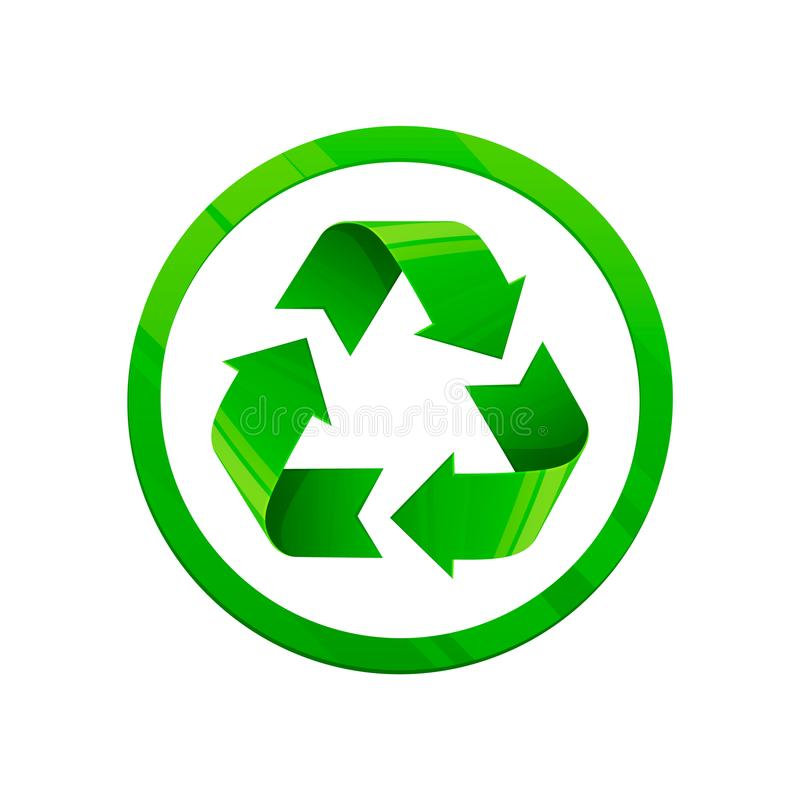 Recycleer groen pictogram Rond vormsymbool, eco groene kleur, 3d stijl, witte achtergrond royalty-vrije illustratie