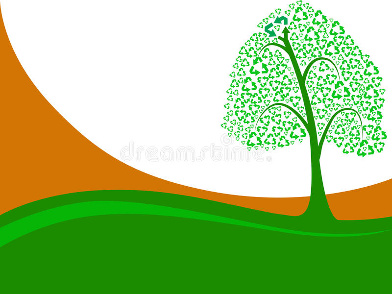 Recycleer groene boom royalty-vrije illustratie