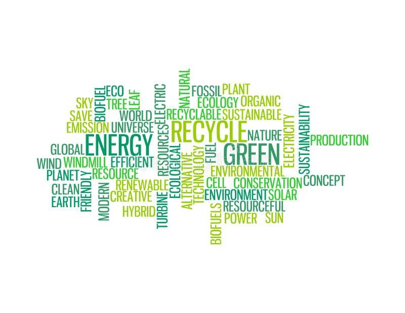 Recycleer groene energie info-tekst grafiek stock illustratie