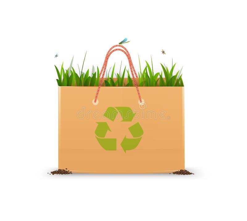 Recycleer het idee van de ecozak, document zakhoogtepunt groen gras en recycleer teken, het idee van de ecozak, royalty-vrije illustratie