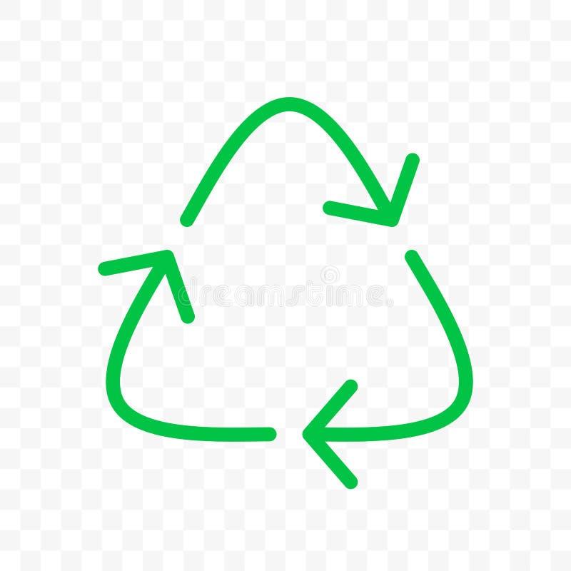 Recycleer het pictogram van de pijlencirkel Vector de bakteken van het ecoafval, organisch hergebruik en kringloop bio de pijlsym stock illustratie