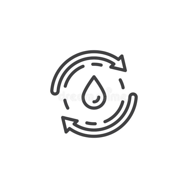 Recycleer het pictogram van de waterlijn vector illustratie