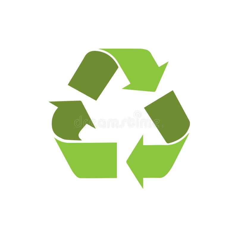 Recycleer het pictogram van het symboolembleem met schaduwvector stock illustratie