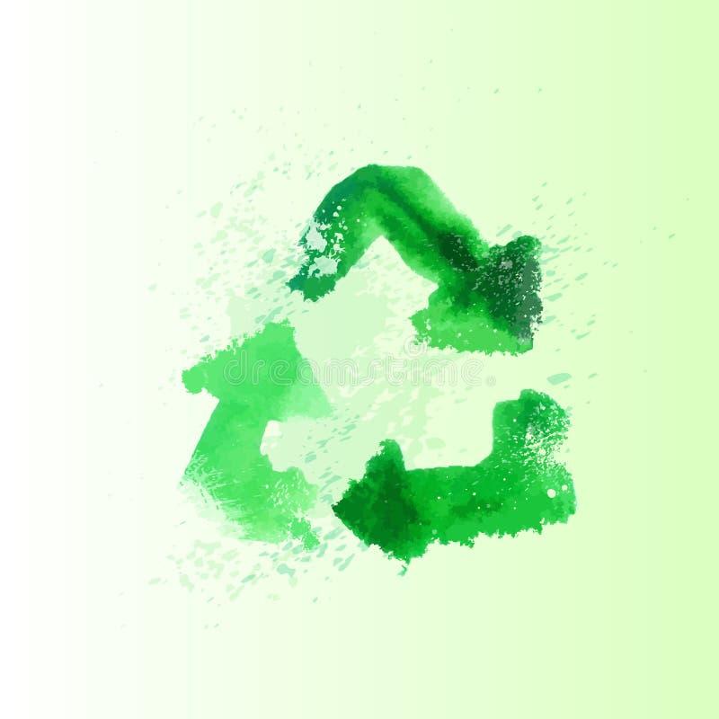 Recycleer het pictogram van het symboolembleem met schaduwvector royalty-vrije illustratie