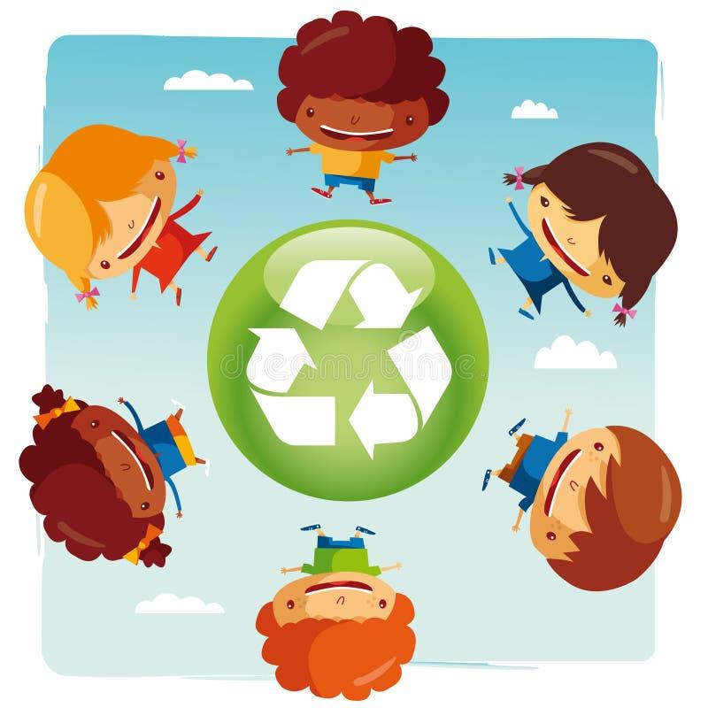 Recycleer Jonge geitjes stock illustratie