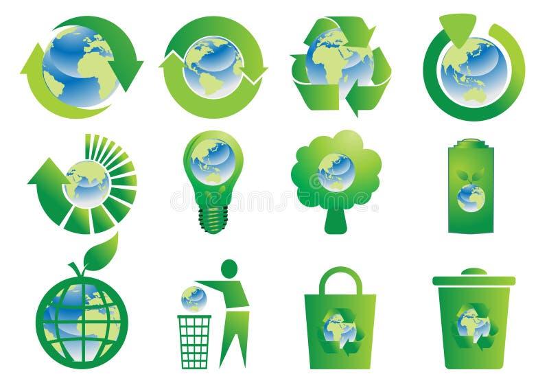 Recycleer knopen met de Bol van de Aarde stock illustratie