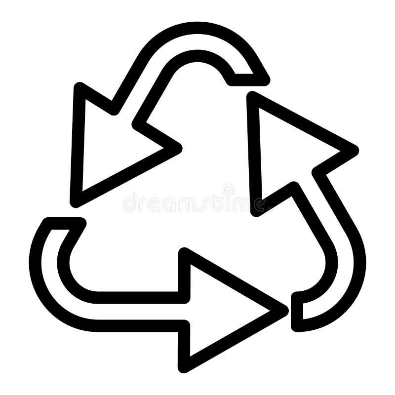 Recycleer lijnpictogram Milieu vectordieillustratie op wit wordt geïsoleerd Het ontwerp van de het overzichtsstijl van cycluspijl stock illustratie