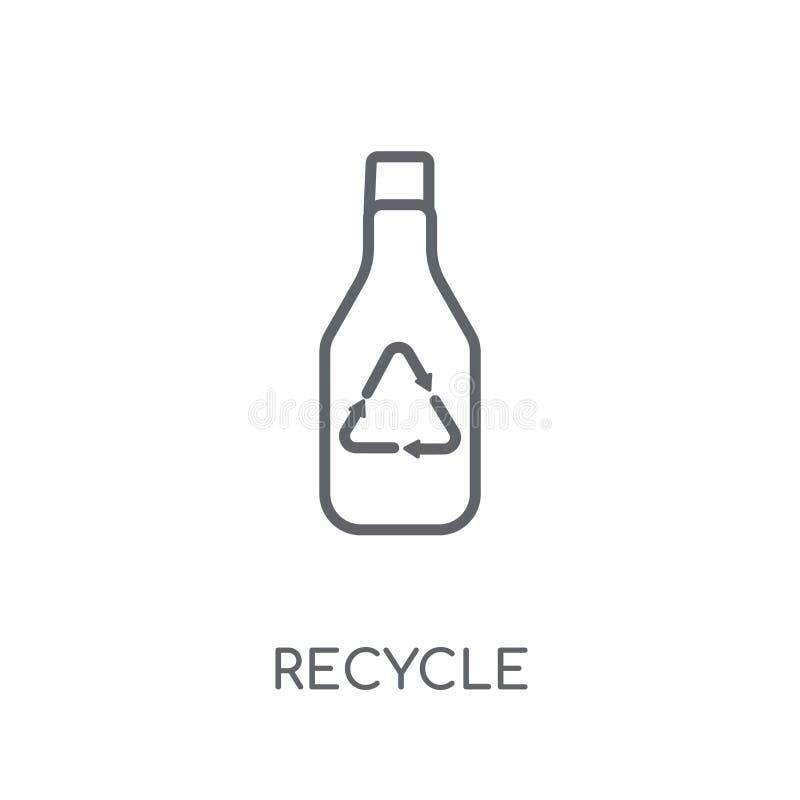 Recycleer lineair pictogram Het moderne concept van het overzichts Kringloopembleem op whit royalty-vrije illustratie