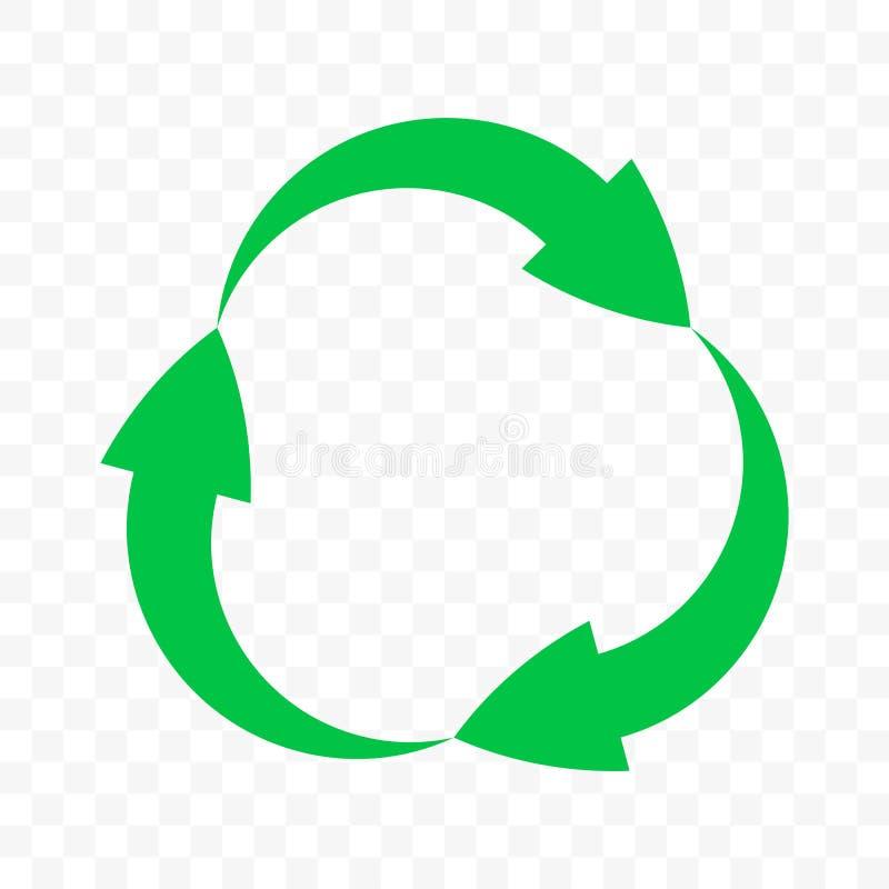 Recycleer pictogram, het vectorsymbool van de pijlencirkel Het hergebruikscyclus van het Ecoafval, bioafval kringloop groene rond stock illustratie