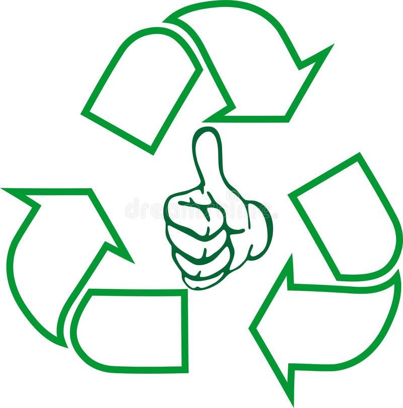Recycleer pijlen, hand, kringloopteken, kringloopteken in 3d, embleem in kleur royalty-vrije illustratie