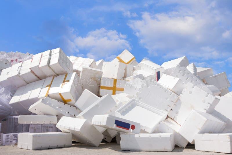 recycleer plastic Kratten fruit bij het recycling van fabriek, een industr royalty-vrije stock foto