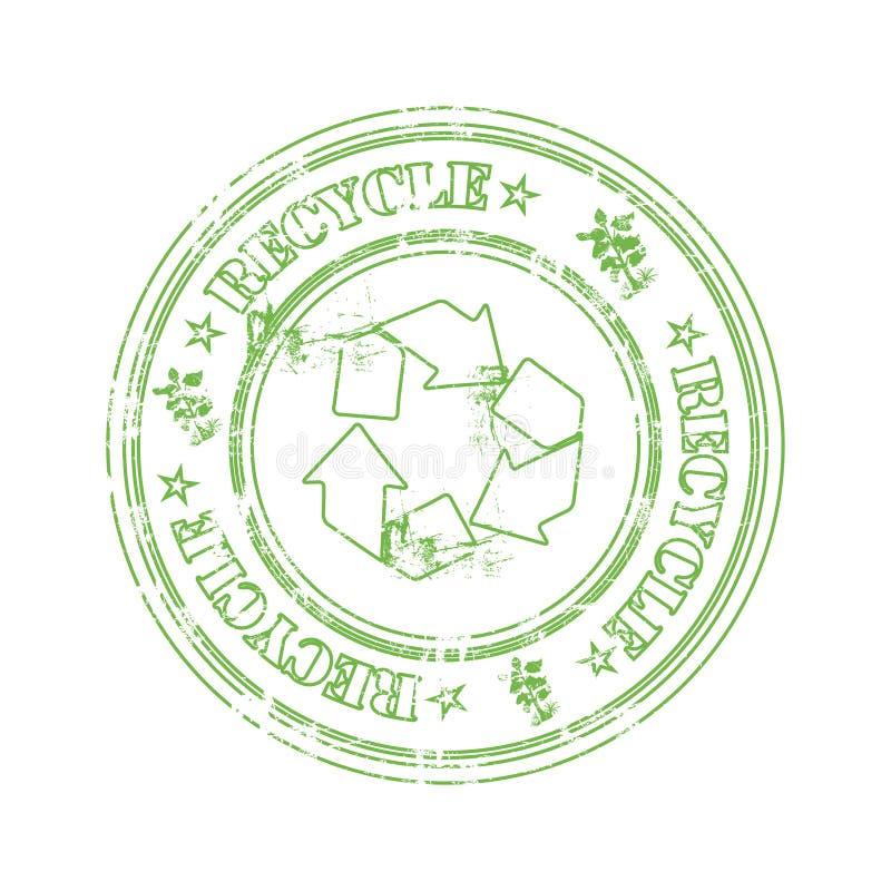 Recycleer rubberzegel royalty-vrije illustratie