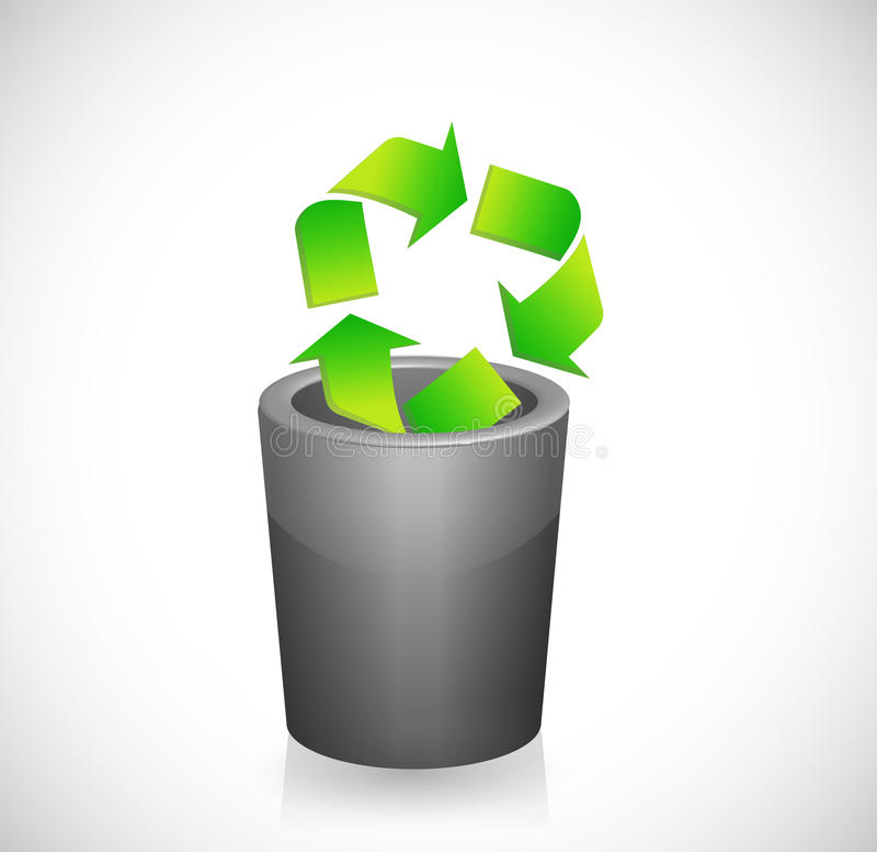 Recycleer symbool binnen een vuilnisbak. illustratie vector illustratie