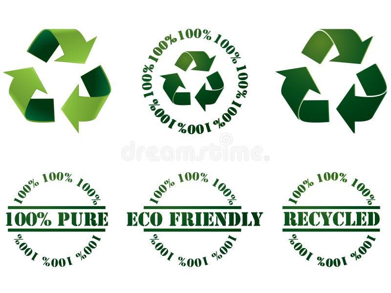 Recycleer symbool en zegels vector illustratie