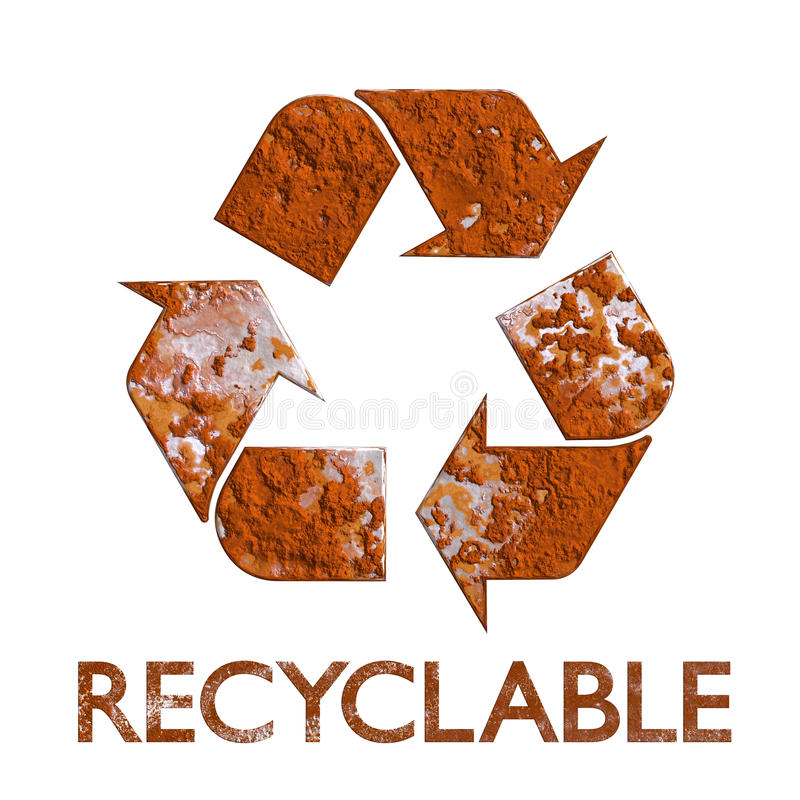 Recycleer symbool geroest metaal recycling stock illustratie