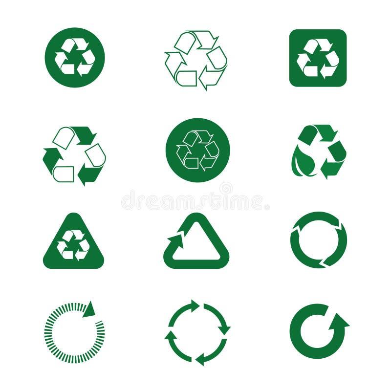 Recycleer Symbool Groene Pijlen Logo Set Web Icon Collection stock illustratie