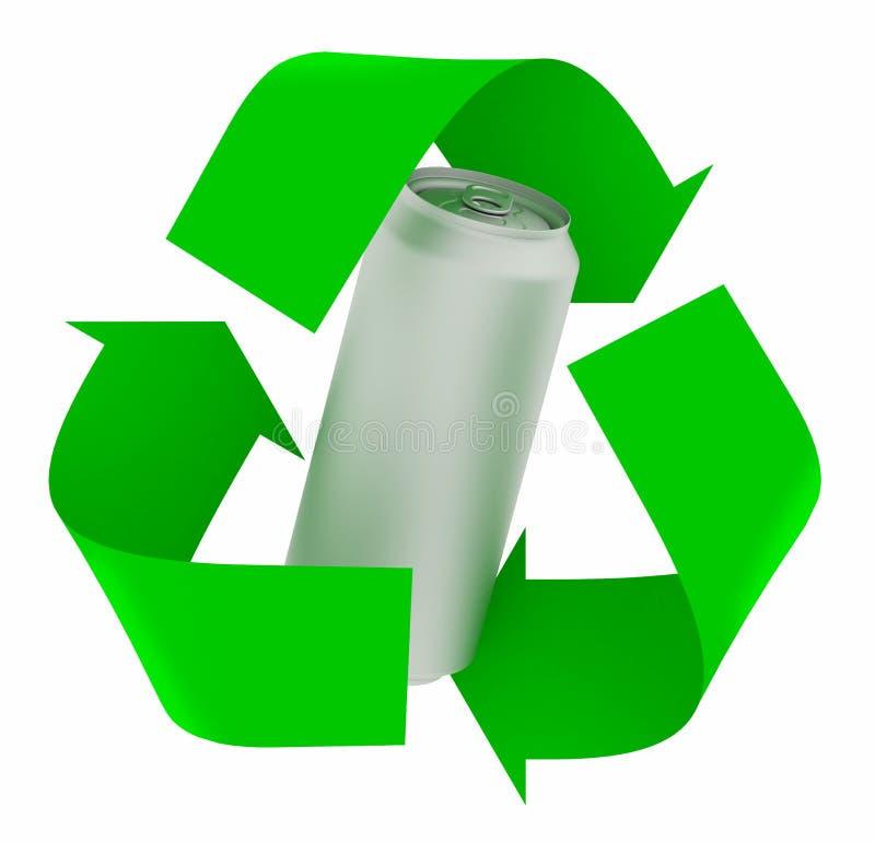 Recycleer symbool met aluminium kan royalty-vrije illustratie