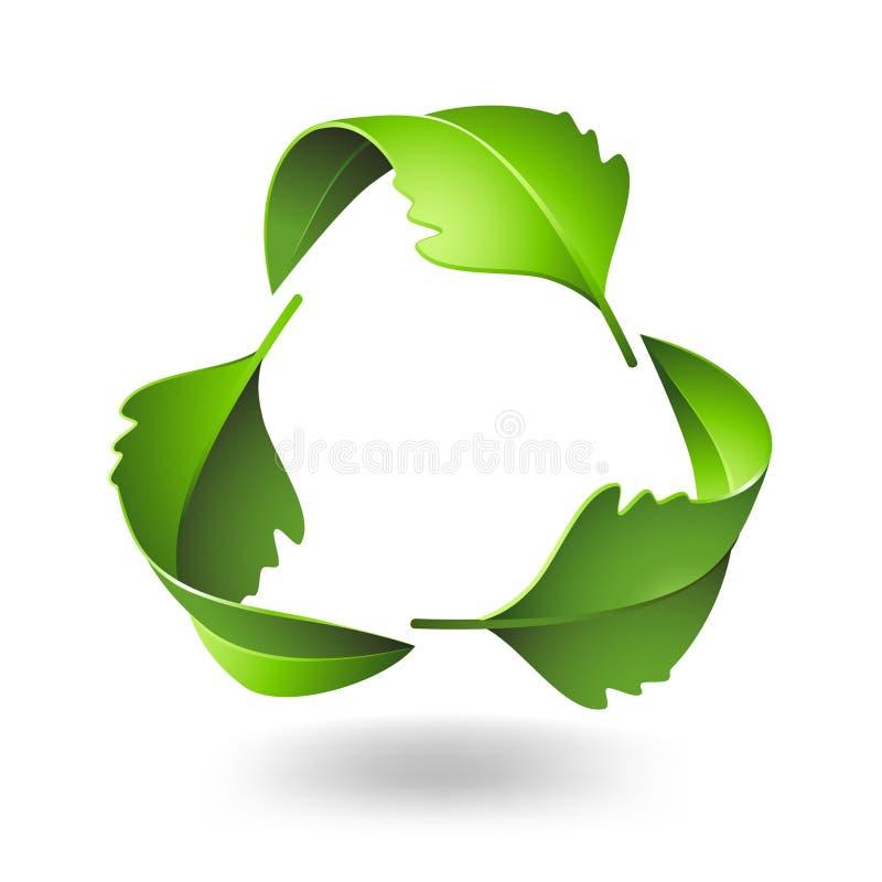 Recycleer symbool met Eiken bladeren vector illustratie