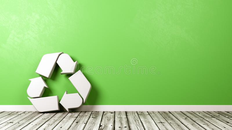 Recycleer Symbool op Houten Vloer tegen Muur royalty-vrije illustratie