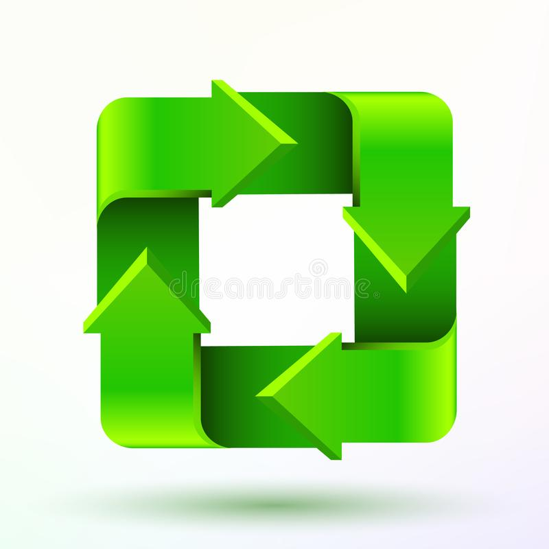 Recycleer symbool of teken van behouds groen die pictogram op witte achtergrond wordt geïsoleerd royalty-vrije illustratie