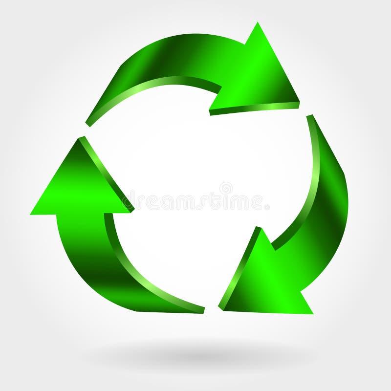 Recycleer Symbool Vector Teken Groen pictogram royalty-vrije illustratie