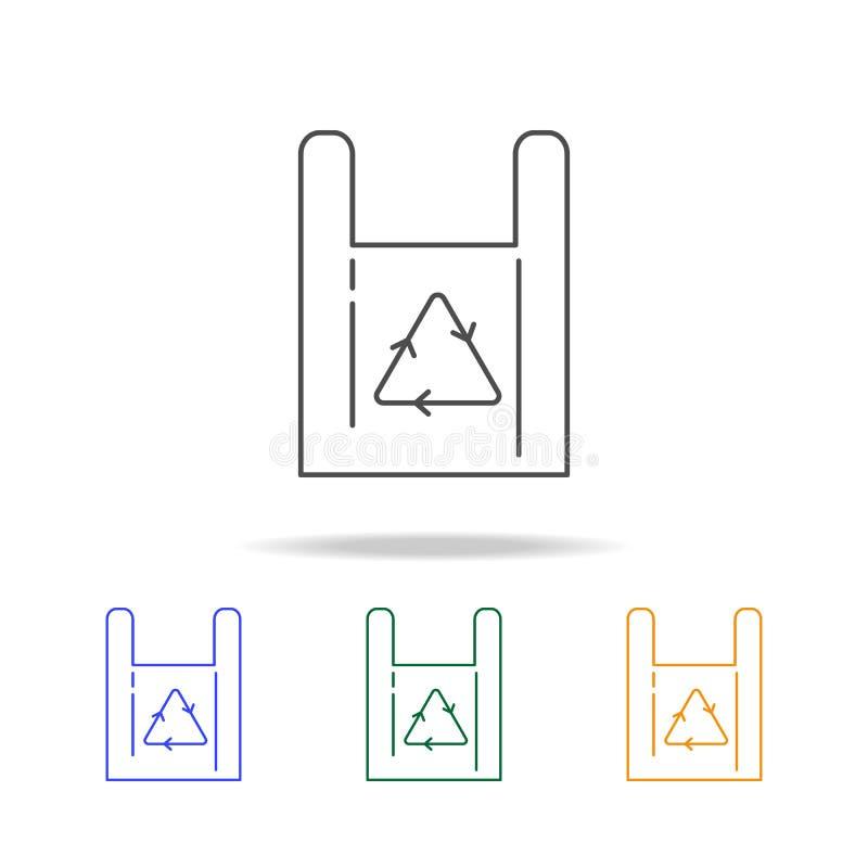 Recycleer symbooldocument zak het winkelen het kopen opslagpictogrammen Element van ecologie voor mobiel concept en Web apps Dun  vector illustratie