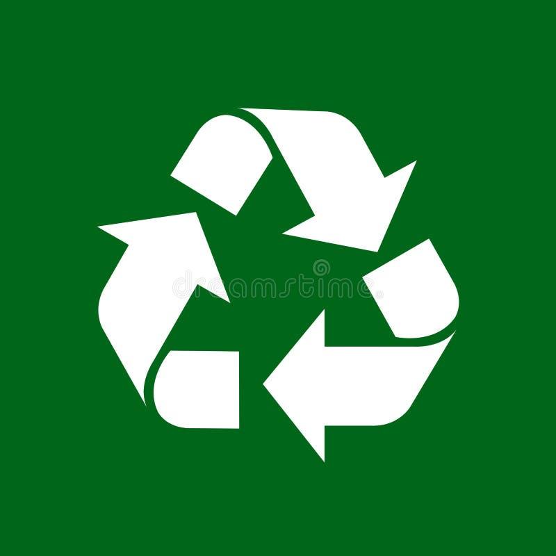 Recycleer symboolwit op groene achtergrond, wit ecologiepictogram op groene, witte pijlvorm wordt geïsoleerd voor het kringloopaf stock illustratie