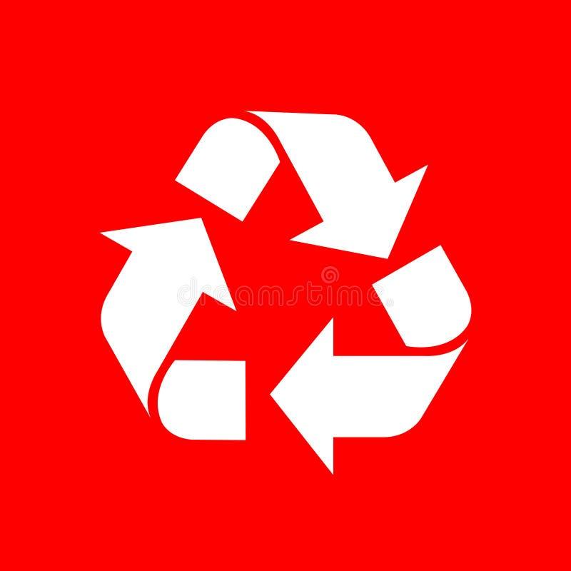 Recycleer symboolwit op rode achtergrond, wit ecologiepictogram op rode, witte pijlvorm wordt geïsoleerd voor het kringloopafval  vector illustratie