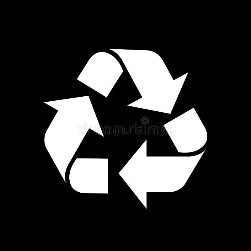 Recycleer symboolwit op zwarte achtergrond, wit ecologiepictogram op zwarte, witte pijlvorm wordt geïsoleerd voor het kringloopaf royalty-vrije illustratie