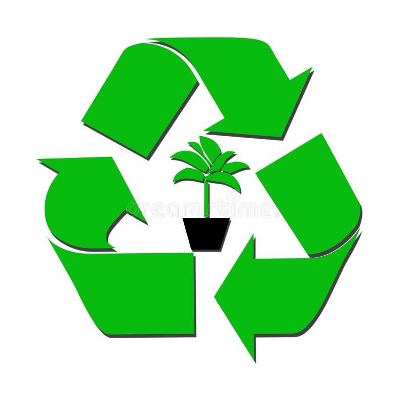 Recycleer teken en boom royalty-vrije illustratie