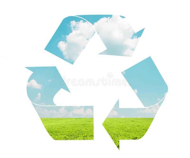 Recycleer teken met landschapspatroon - Eco-concept royalty-vrije stock afbeeldingen